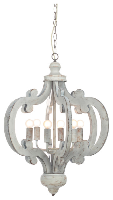 Venice Distressed Wooden Chandelier Traditional Chandeliers