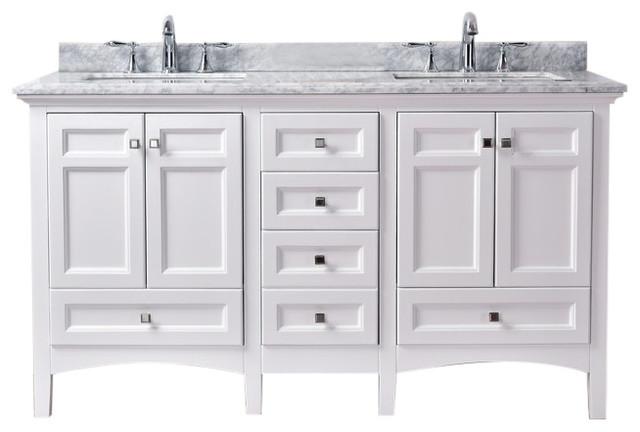 luz 60 double sink bathroom vanity white