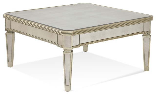 bassett mirror borghese mirrored square cocktail table in silver