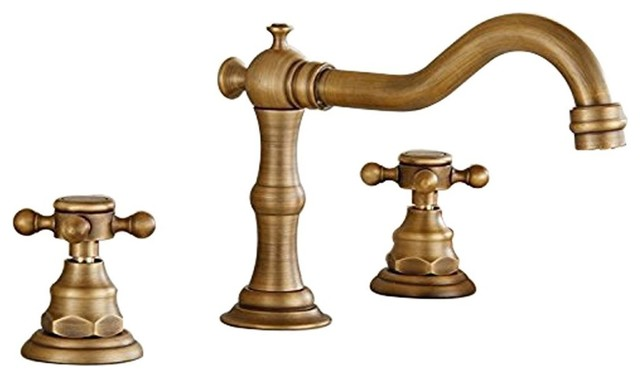 deck mounted 3 hole double handle widespread bathroom faucet antique brass