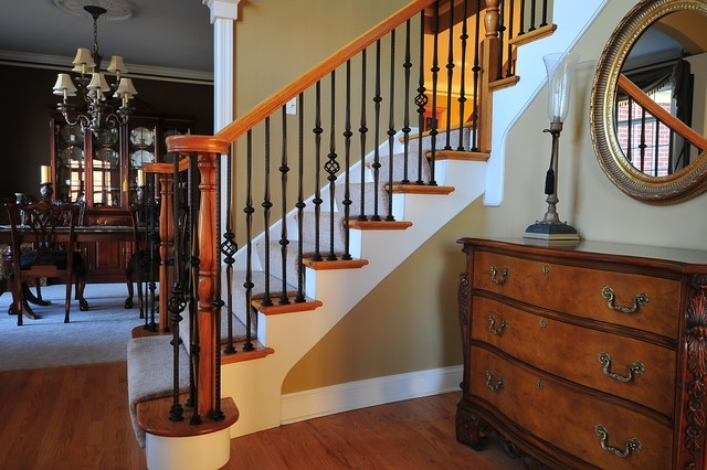 Wrought Iron Baluster Upgrade Traditional Staircase Chicago   Wrought Iron Balusters Home Depot   Silver Vein   Oil Rubbed Bronze   Solid Wrought   Baluster Railing   Tuscan Round