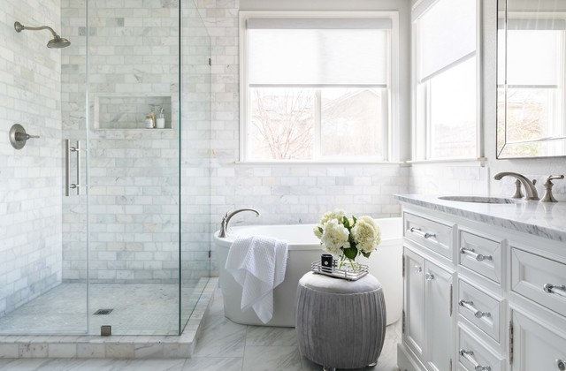 marble tile brings spa like luxury to a