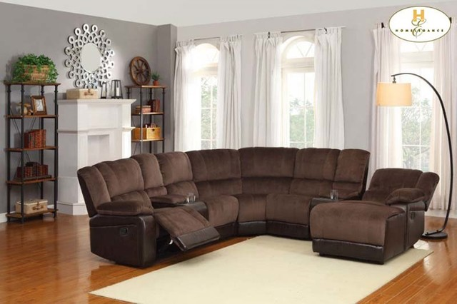 Brown Microfiber Leather Reclining Sectional Sofa Chaise Cup Holder : brown microfiber sectional couch - Sectionals, Sofas & Couches