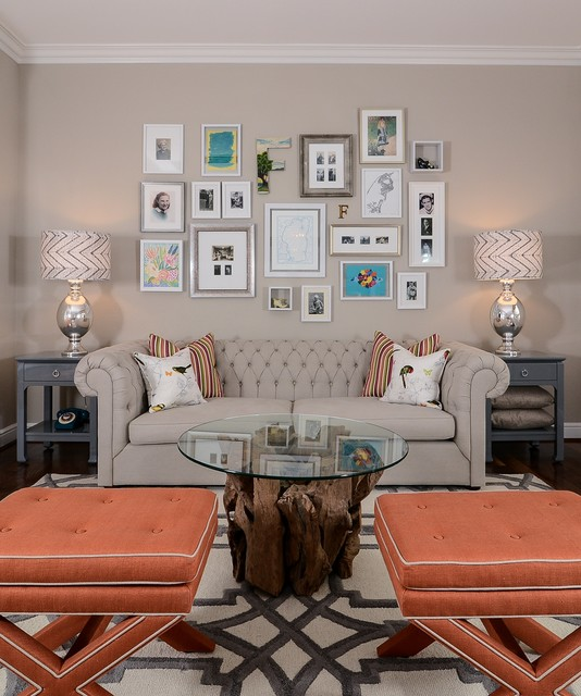 Cool Calm + Curated transitional-family-room