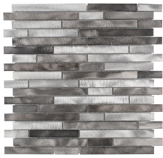 modern linear black grey metal mosaic