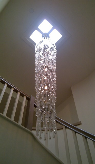 Custom Designed Chandelier Contemporary Staircase