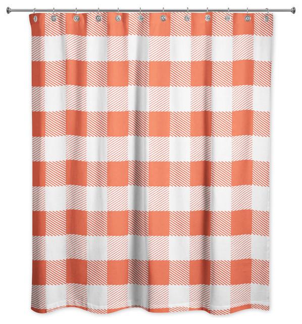 red buffalo check plaid shower curtain