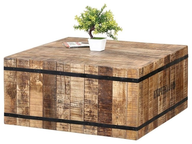 expedition square coffee table made of rustic mango wood iron