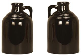 Ceramic Growler Vase, Black, Set of 2