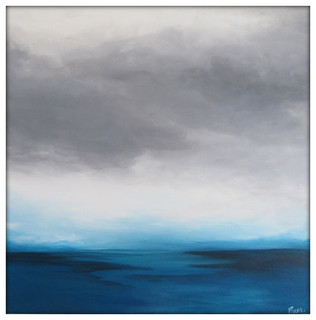 Large Abstract Painting On Canvas Modern Acrylic Skyline