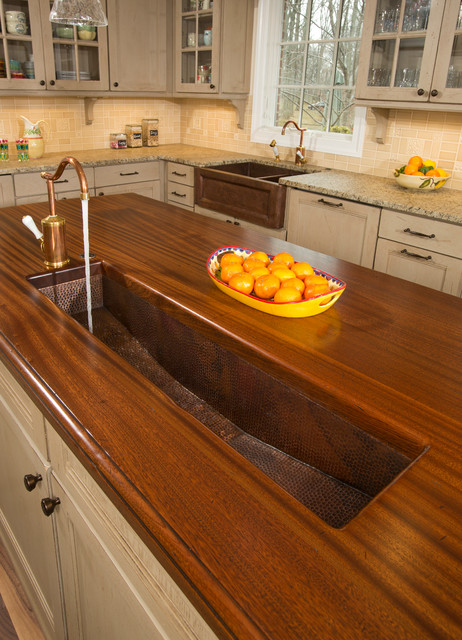 Brass Trough Sink In Kitchen Island Traditional