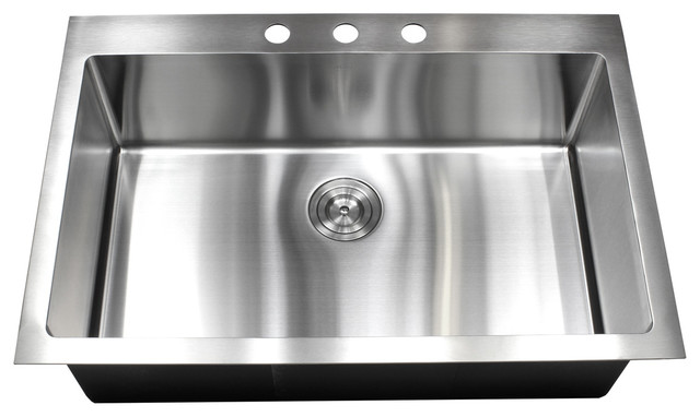 "33"" Drop-In/Top-Mount Stainless Steel Single Bowl Kitchen"