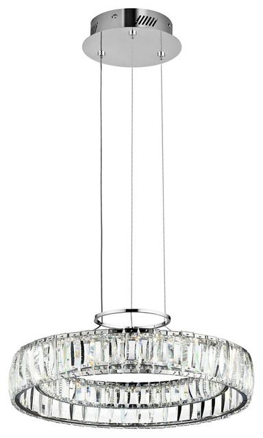 Elan Annette 1 Light Led Chandelier Round Pendant Chrome Lighting
