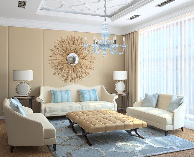Modern Light Blue Translucent Glass Chandelier Living Room