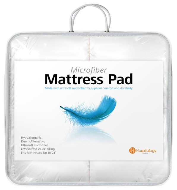 Hospitology Heavenly Microfiber Down Alternative Mattress Pad Full Xl Modern Toppers