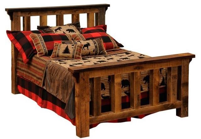 barnwood post bed reclaimed rustic wood twin