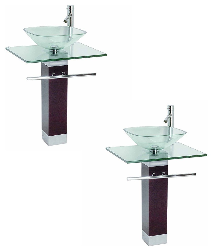 2 tempered glass pedestal sink chrome faucet towel bar and drain combo pack of 2