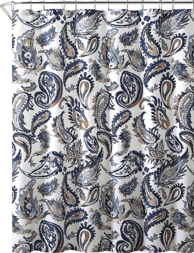 decorative navy blue gold fabric shower curtain watercolor floral paisley