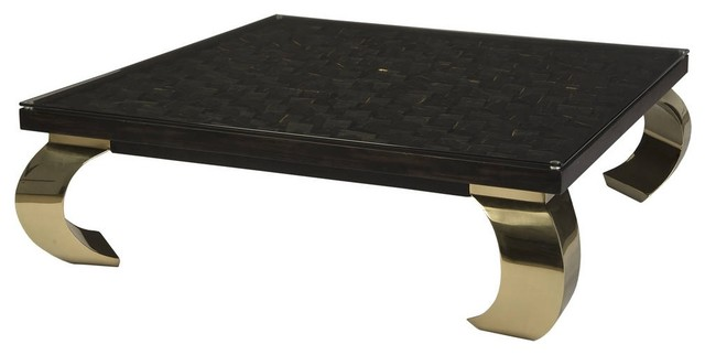 48 cocktail table distressed black and gold coffee polished brass ming