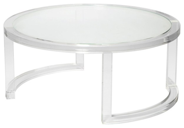 ava modern round clear glass acrylic coffee table - modern - coffee