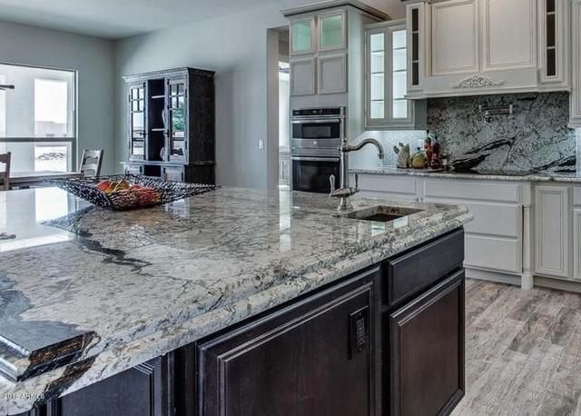 Platinum White Granite Kitchen - American Traditional - Kitchen ...