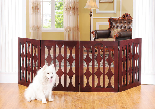 Emma Four Panel, 32 inch Pet Gate with Geometric Design in Mahogany Wood by Eleg