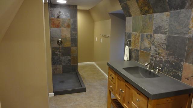 houzz inspired custom tile bathroom remodel - rustic
