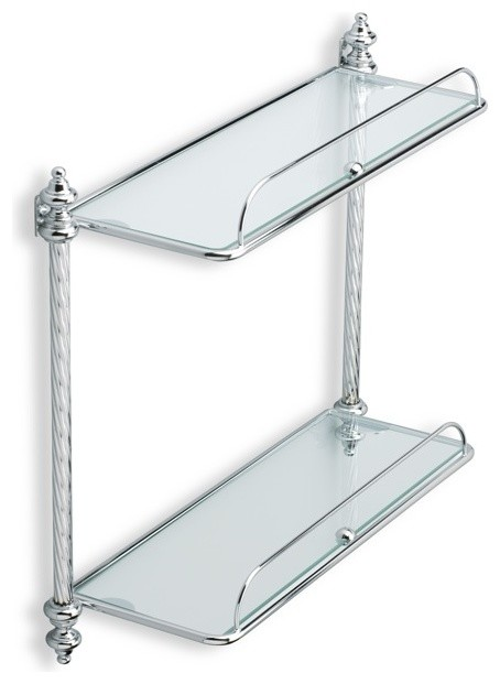 double glass bathroom shelf - traditional - bathroom cabinets and