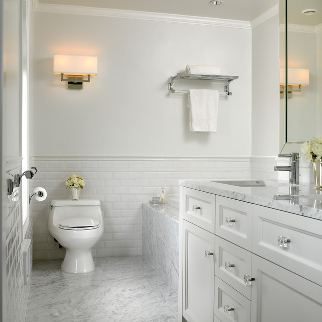 white marble bathroom - traditional - bathroom - vancouver - by