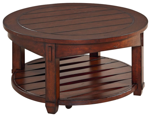 Hammary Tacoma Round Cocktail Table In Rustic Brown