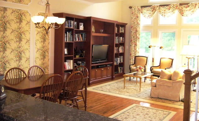 Traditional Townhome With Custom TV Wall Cabinet