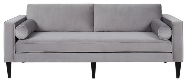 gray velvet track arm sofa with bolster pillows