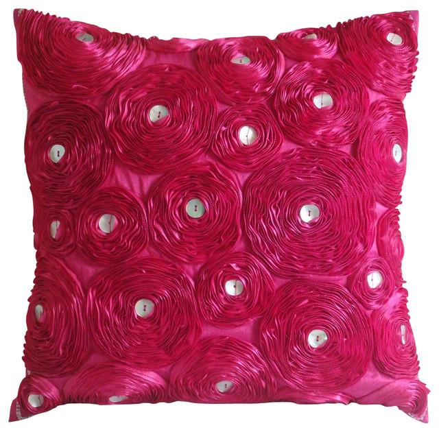 pink ribbon fuchsia rose flower 14 x14 silk pillow covers fuchsia power