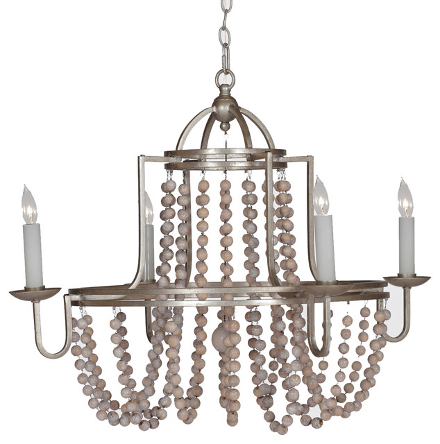 Gabby Sonya 4 Light White And Silver Chandelier Traditional Chandeliers