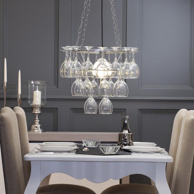 Litecraft Wine Glass Chandelier 3 Tier Silver Contemporary Dining Room