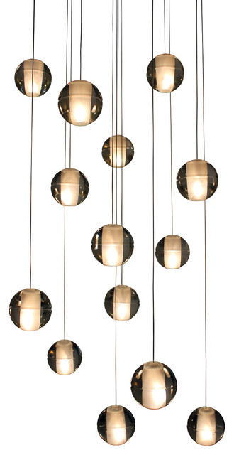 Orion 14 Light Floating Glass Globe Led Chandelier Contemporary Chandeliers