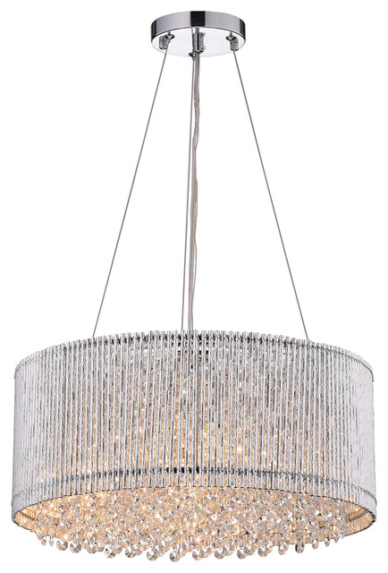 Drum Shade Crystal Chandelier Contemporary Pendant Lighting