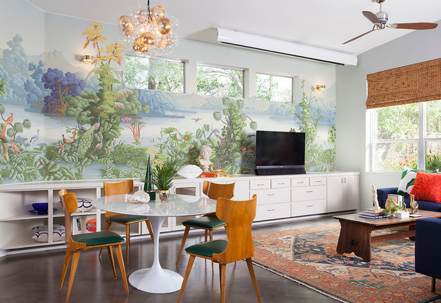 Tropical Mid-Century Modern eclectic-living-room