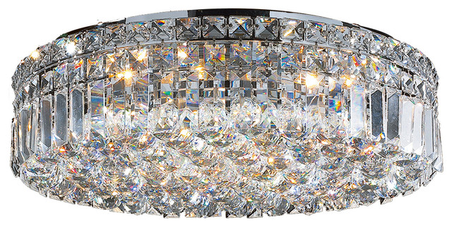 Cascade 6 Light Chrome Finish Crystal 20 Round Flush Mount Ceiling Large Contemporary