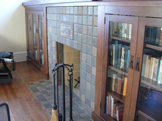 Batchelder Tile Fireplace In San Diego Craftsman Living Room San Diego By Custom Masonry
