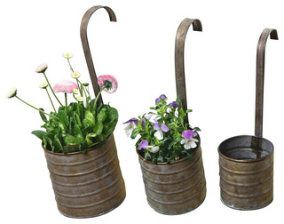 Hanging Metal Flower Planters With Handles Set Of 3 Farmhouse Outdoor Pots And Planters