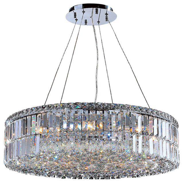 Cascade 12 Light Round Crystal Chandelier Chrome Transitional Chandeliers