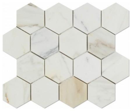 11 63 x11 calacatta gold italian calcutta marble honed hexagon mosaic tile