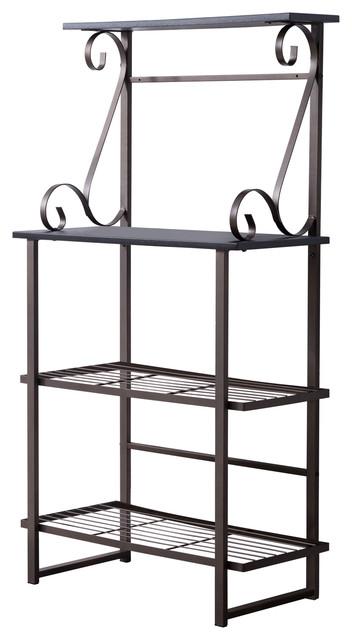 kalamazoo 4 tier free standing kitchen bakers rack pewter metal black wood