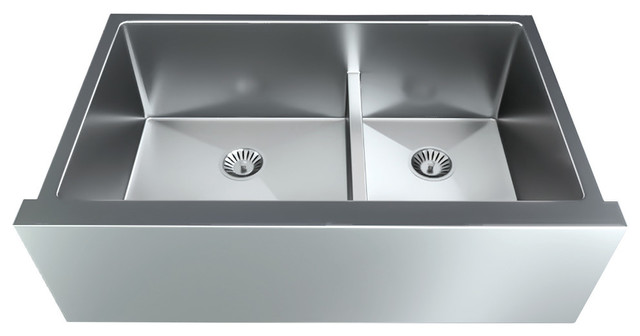 satin stainless steel apron front double bowl undermount sink low divider