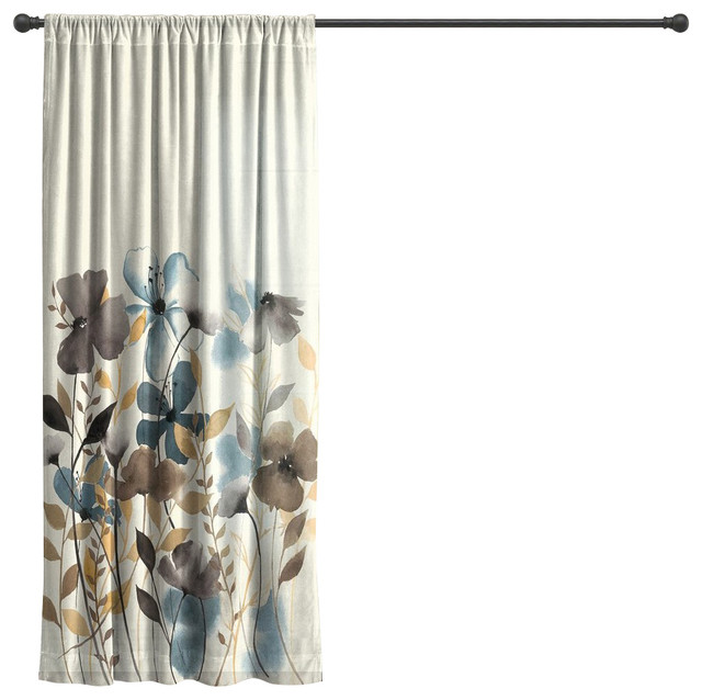 laural home greige florals sheer window curtain 84