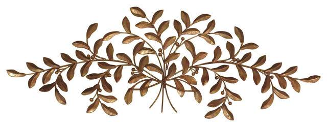 Large Gold Olive Branch Wall Iron, Iron Metal Plaque Leaf