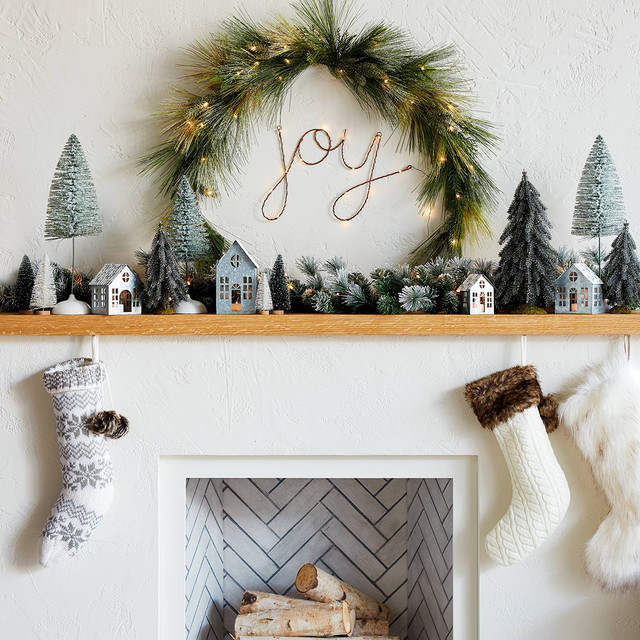 Traditional Wintery Holiday Mantel Collection - Threshold™ modern-living-room