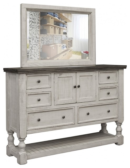 stonegate rustic solid wood 6 drawer 2 door white dresser with mirror with mir