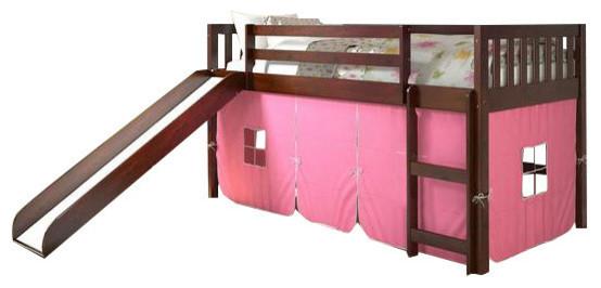 Bunk Bed Slide Pink Tent Transitional Kids Beds By Custom Kids Furniture